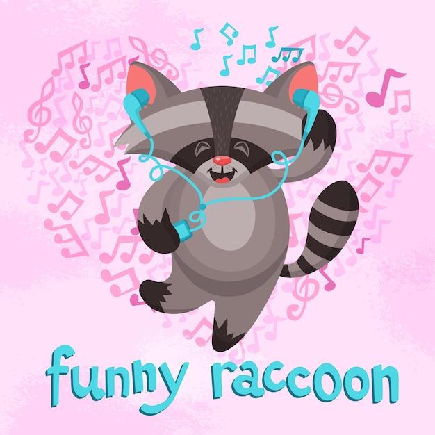 Cartel gracioso del mapache vector gratuito