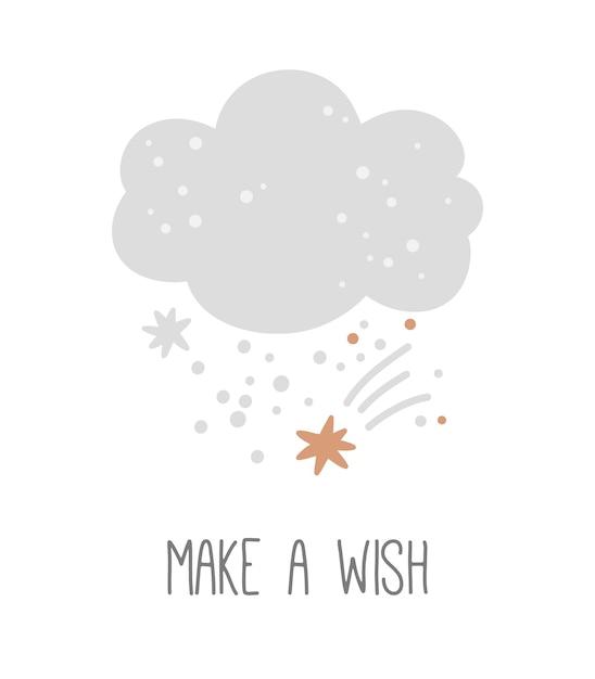 Cartel de guardería con linda nube y estrellas sobre un fondo blanco pide un deseo impresión infantil Vector Premium