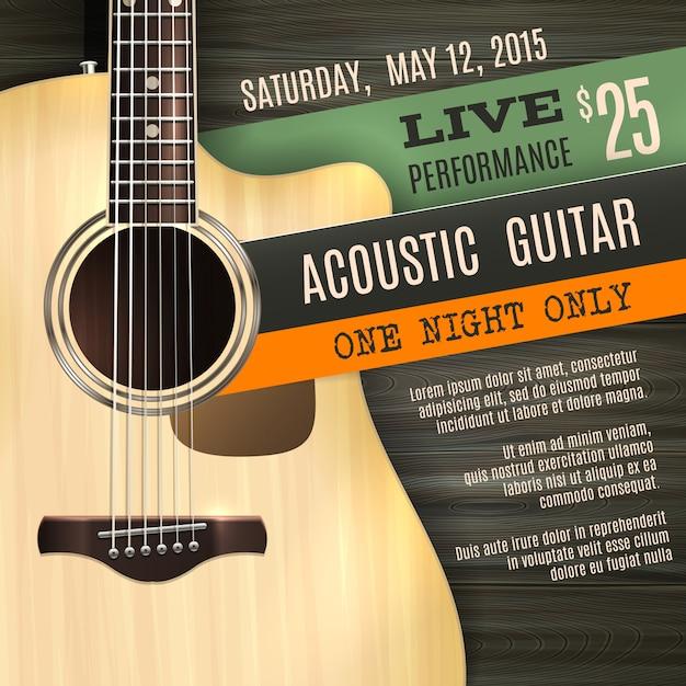 Cartel de guitarra acústica vector gratuito