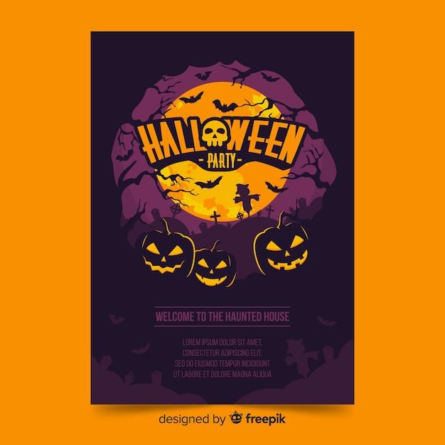 Cartel de halloween con calabazas en una noche de luna llena vector gratuito