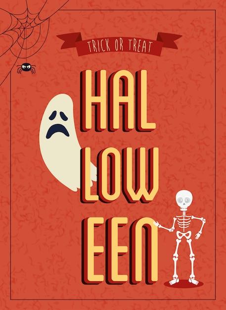 Cartel de halloween con fantasma con esqueleto vector gratuito