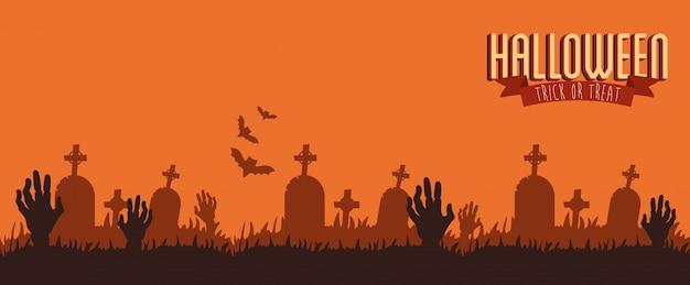 Cartel halloween con manos zombie en cementerio vector gratuito