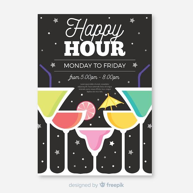 Cartel de happy hour con cócteles vector gratuito