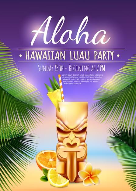 Cartel hawaiano del partido de luau vector gratuito