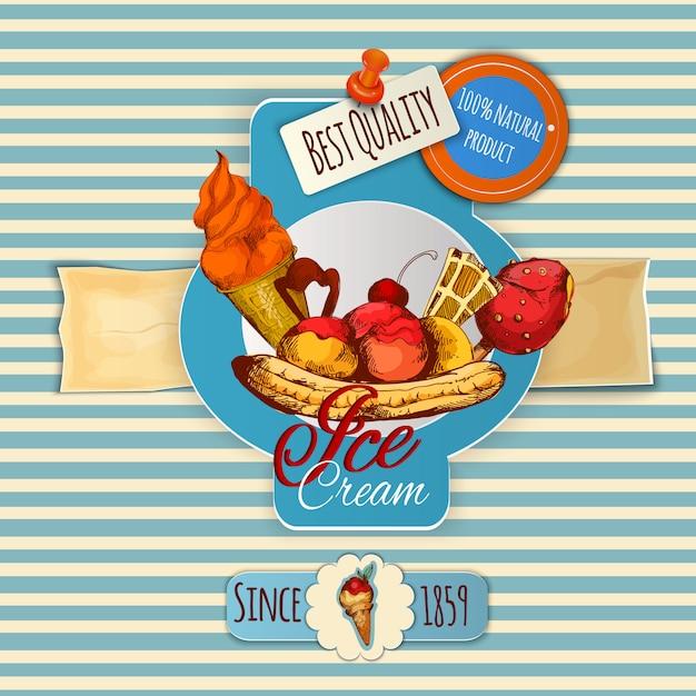 Cartel de helado vector gratuito