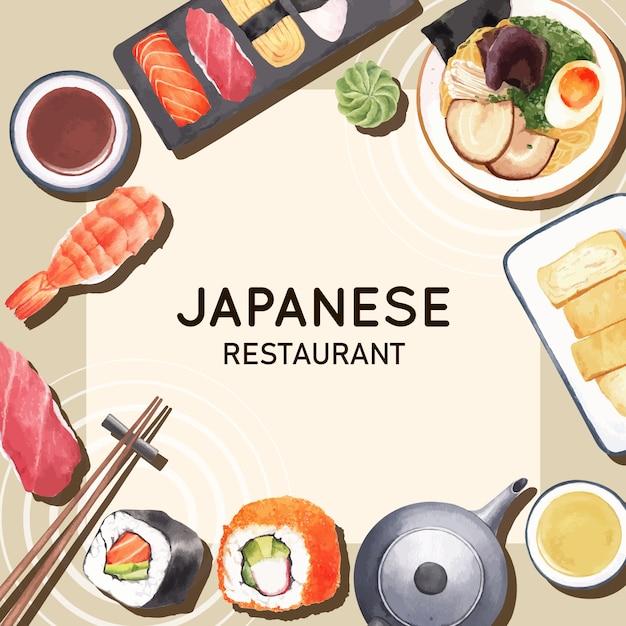 Cartel de la ilustración del restaurante de sushi. de inspiración japonesa en estilo moderno vector gratuito