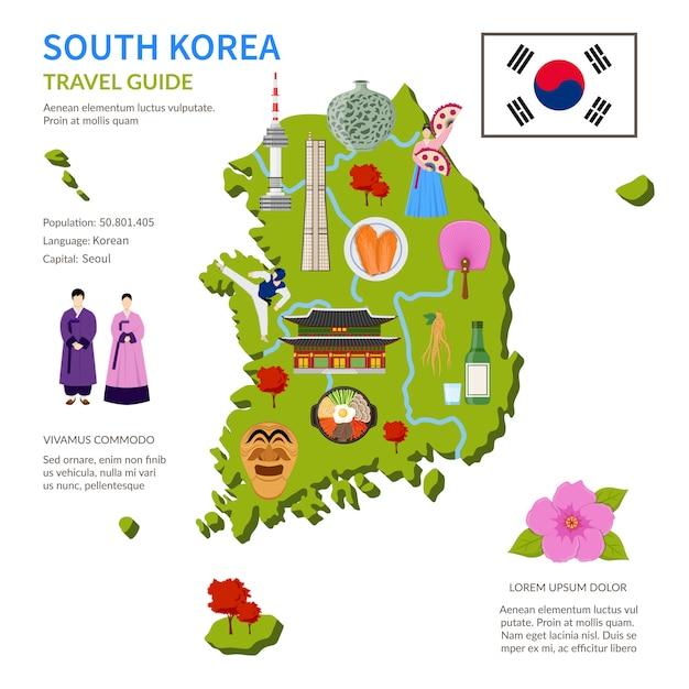 Cartel de infografía de guía de viaje de corea del sur vector gratuito
