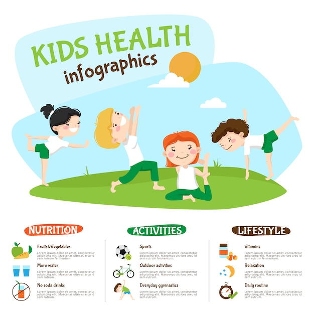 Cartel de inforgrahic de la yoga del estilo de vida sano de los niños vector gratuito