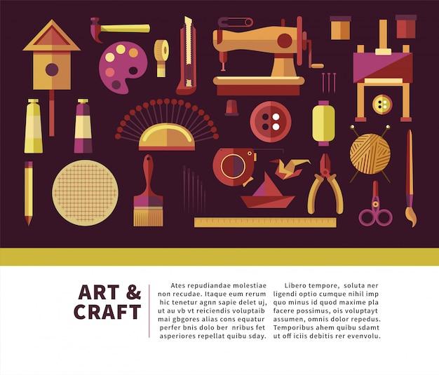 Cartel de información promocional de arte y artesanía con equipo especial Vector Premium