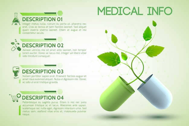 Cartel de información sanitaria con prescripción y símbolos de ayuda ilustración realista vector gratuito