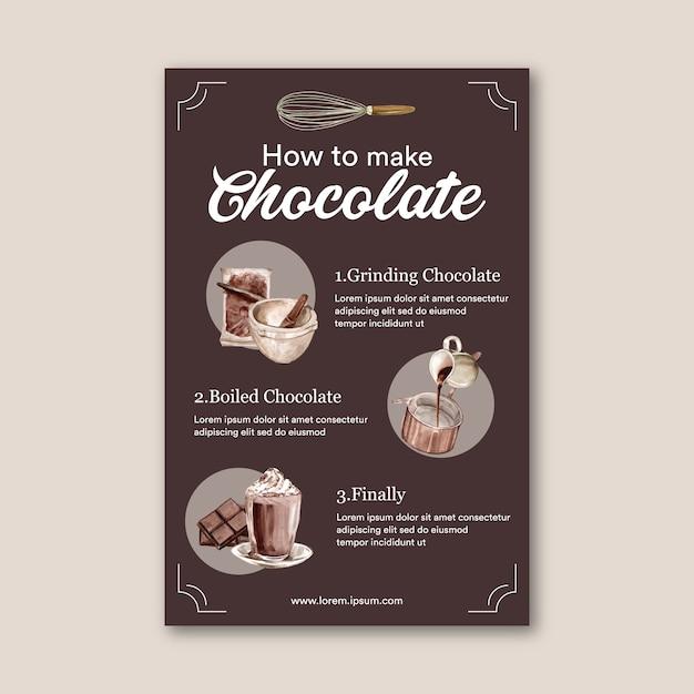 Cartel con instrucciones para hacer chocolate. vector gratuito