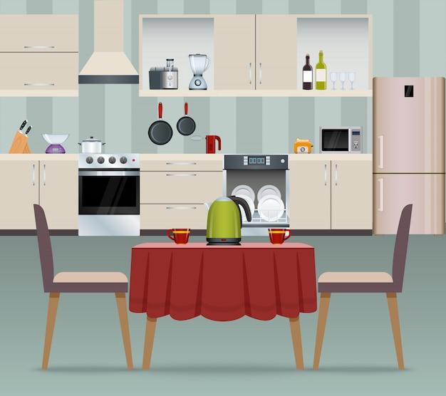 Cartel interior de cocina vector gratuito