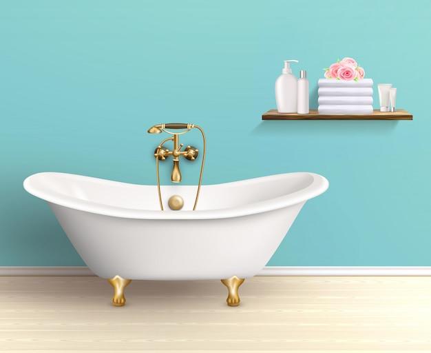 Cartel interior coloreado baño vector gratuito