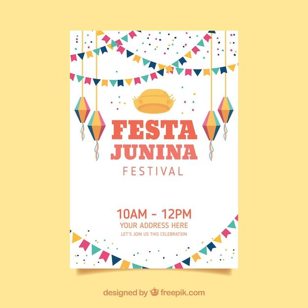 Cartel de invitación de fiesta junina con elementos planos vector gratuito