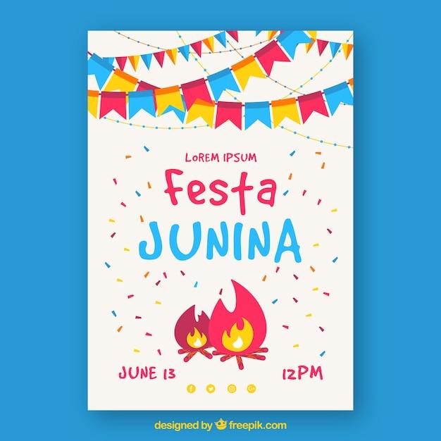 Cartel De Invitación De Fiesta Junina Con Fogata Y