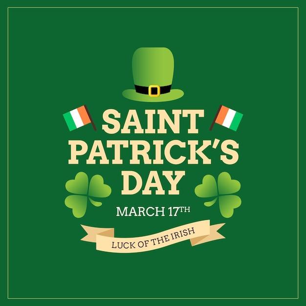 Cartel irlandés del día de san patricio y tarjeta de felicitación Vector Premium