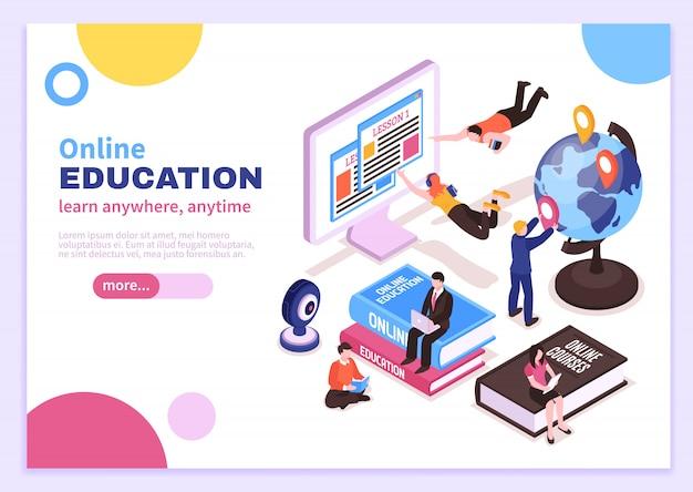 Cartel isométrico de educación en línea con tutoriales que publicitan cursos a distancia y lemas aprenden en cualquier lugar en cualquier momento vector gratuito