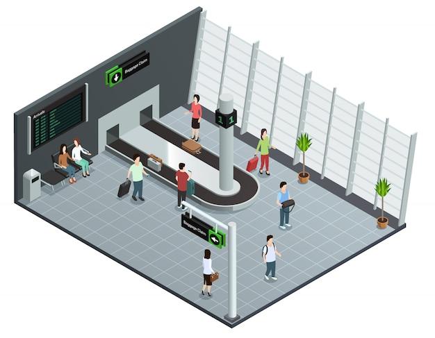 Cartel isométrico moderno de la opinión isométrica del carrusel del equipaje del aeropuerto con los pasajeros que esperan el equipaje vector gratuito