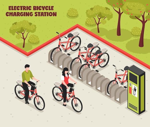 El cartel isométrico de transporte ecológico ilustra la estación de carga de bicicletas eléctricas con bicicletas de pie en el estacionamiento para vector gratuito