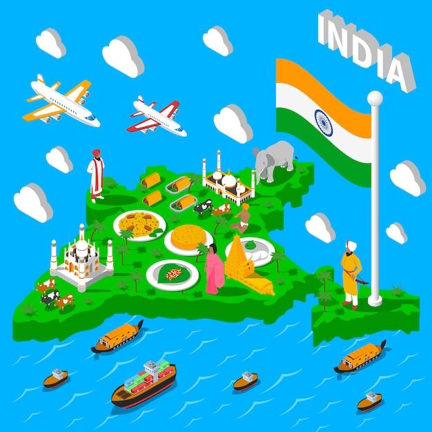 Cartel isométrico turístico de mapa de la india vector gratuito
