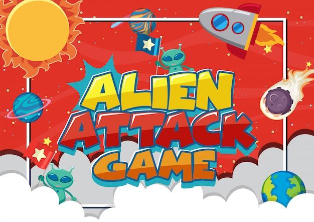 Cartel con juego de ataque alienígena con nave espacial y muchos planetas Vector Premium