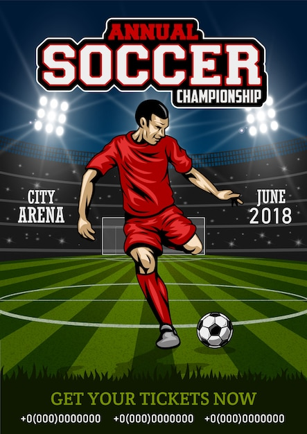 Cartel con jugador de fútbol. vector gratuito