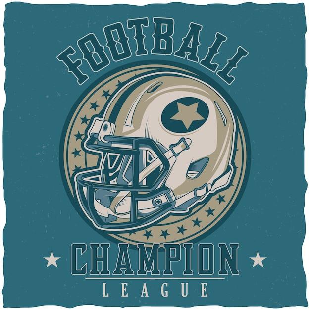 Cartel de la liga de campeones de fútbol americano vector gratuito