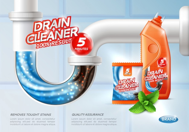 Cartel de limpiador de drenaje sanitario vector gratuito