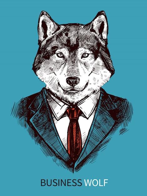 Cartel de lobo de negocios dibujados a mano vector gratuito