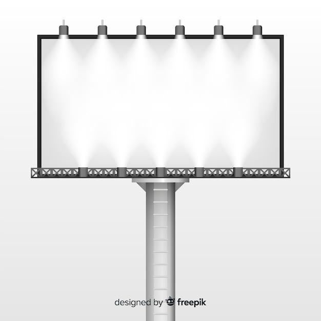 Cartel luminoso realista vector gratuito