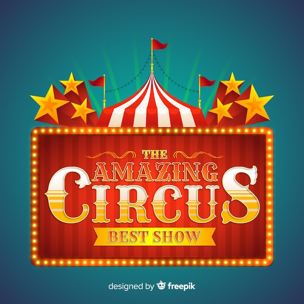 Cartel luminoso retro de circus vector gratuito