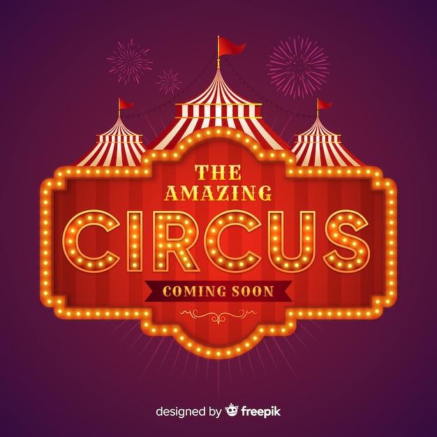 Cartel luminoso retro de circus vector gratuito