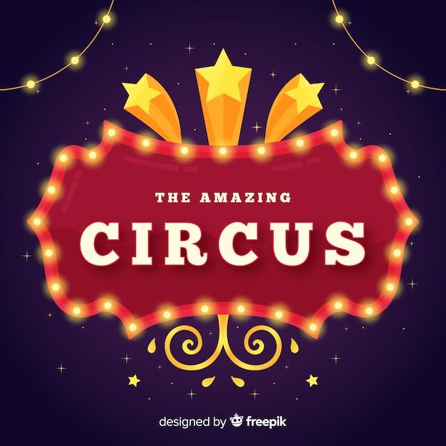 Cartel luminoso vintage de circo vector gratuito