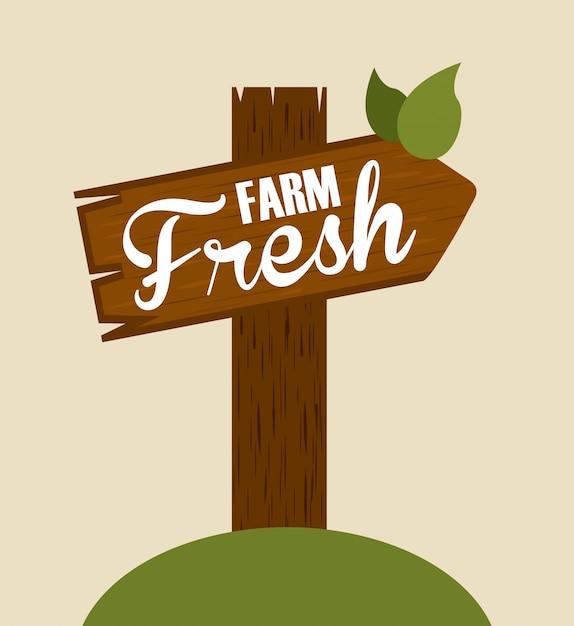 Cartel de madera fresca de granja vector gratuito