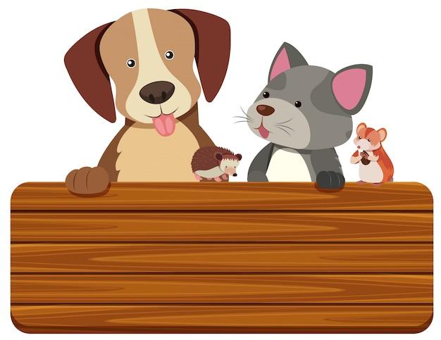 c16c36387c2c1 Cartel de madera con gato y perro en el fondo