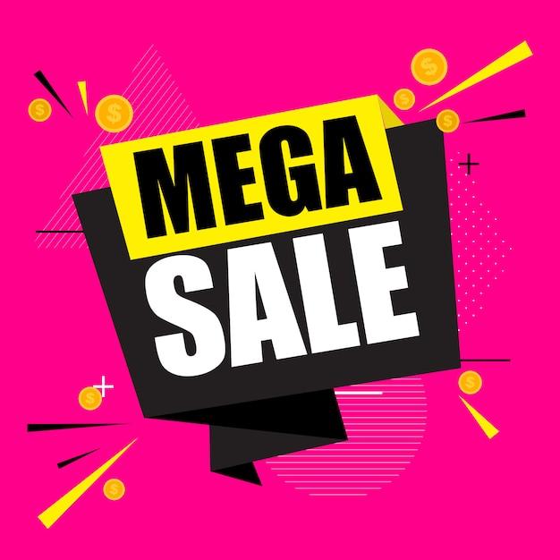 Cartel de mega venta abstracta Vector Premium