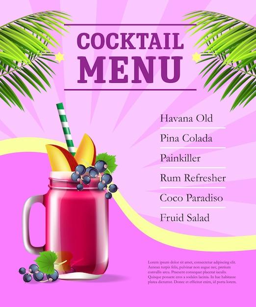 Cartel del menú de cócteles. batido de frutas y hojas de palma sobre fondo rosa con rayos vector gratuito