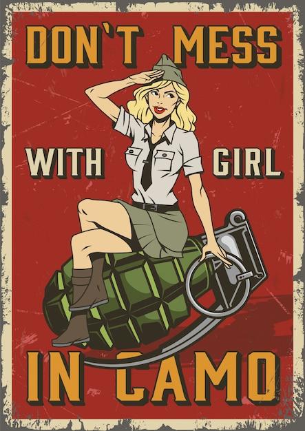 Cartel militar retro con pin up girl vector gratuito