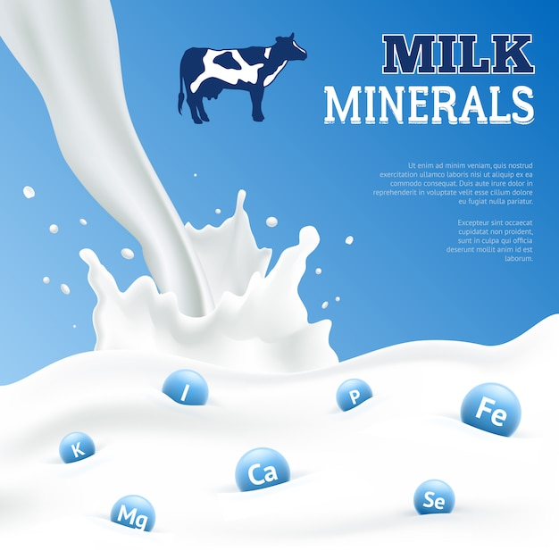 Cartel de minerales de leche vector gratuito