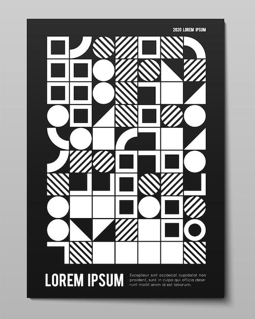 Cartel minimalista de vector con formas simples. procedimientos geométricos. diseño abstracto de estilo suizo. telón de fondo generativo conceptual forma revista moderna, portada de libro, marca, presentaciones de negocios. vector gratuito