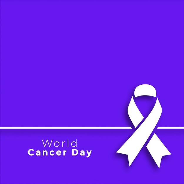 Cartel mínimo del día mundial del cáncer púrpura vector gratuito