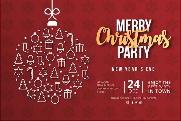Cartel moderno de fiesta de feliz navidad vector gratuito