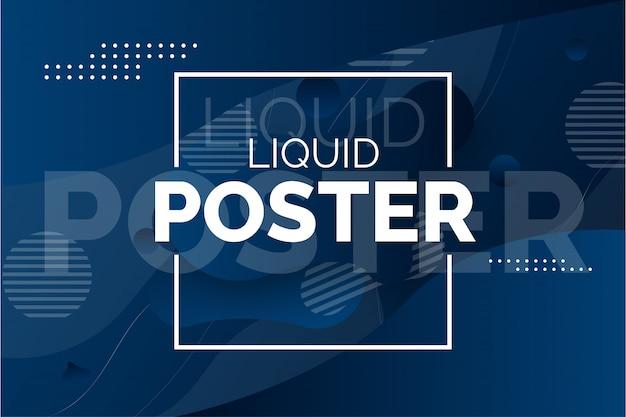 Cartel moderno líquido con ondas abstractas vector gratuito