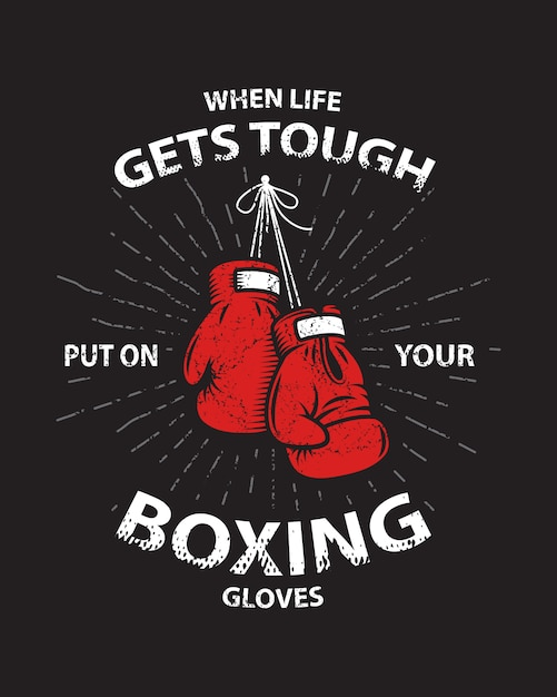 Cartel de motivación de boxeo de grunge e impresión con guantes de boxeo, texto, rayos de sol y textura grunge. vector gratuito
