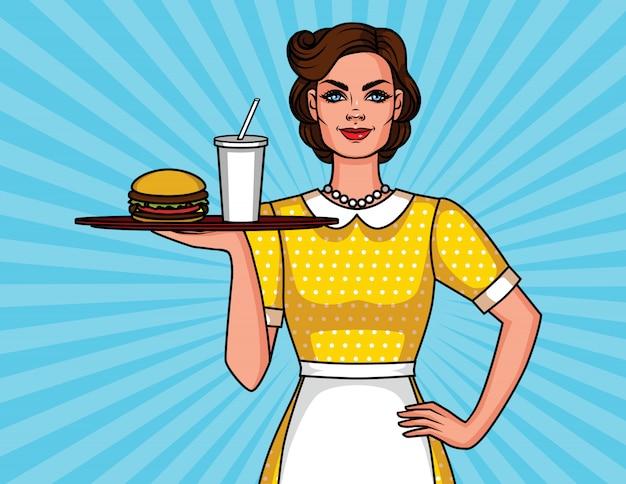 Cartel con mujer sonriente en delantal con hamburguesa y cola Vector Premium