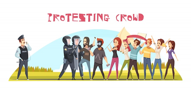Cartel de multitud protestando vector gratuito
