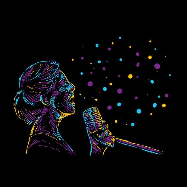 Cartel de la música abstracta ilustración vectorial cantante femenina Vector Premium