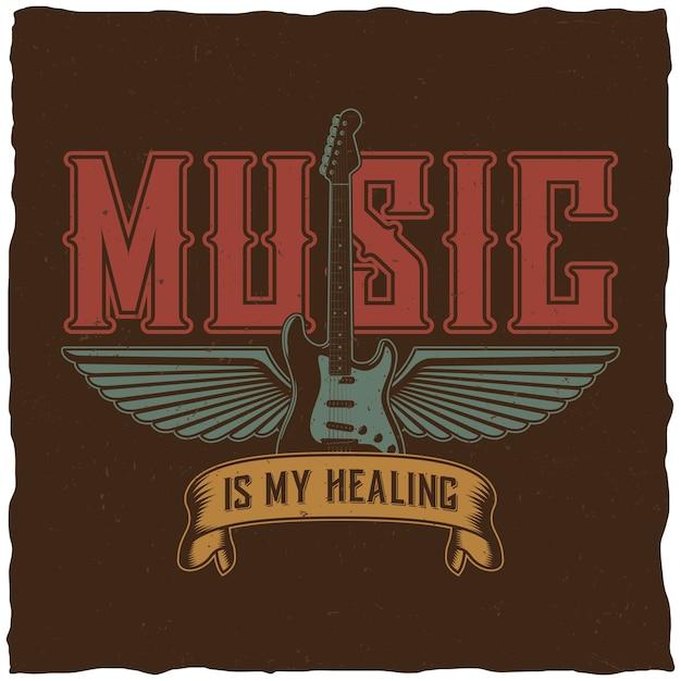 Cartel de música eficaz con palabras la música es mi curación. vector gratuito