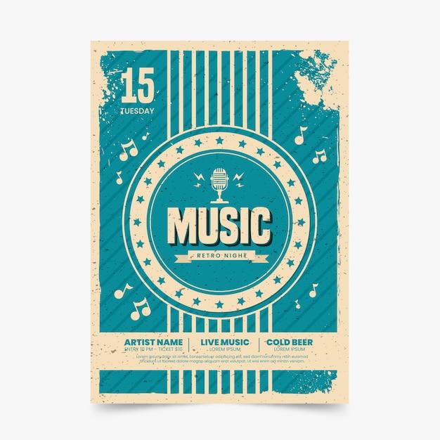 Cartel de música en estilo retro vector gratuito