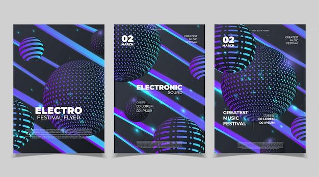 Cartel de música de fiesta electro sound. club electrónico de música profunda. evento musical disco trance sonido. invitación a fiesta nocturna. cartel de volante de dj. Vector Premium